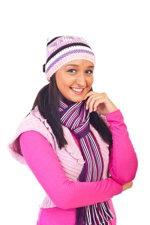 neckcloth: Young smiling woman in warm pink clothes isolated on white background