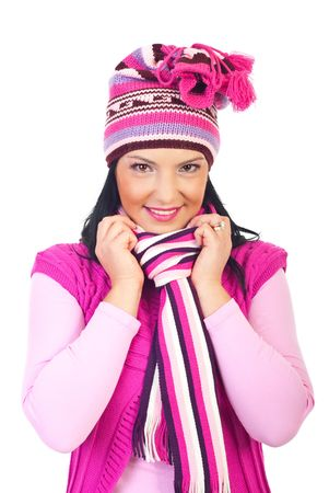Beautiful smiling woman in pink crotched cap,muffler and vest isolated on white background Stock Photo - 8156453
