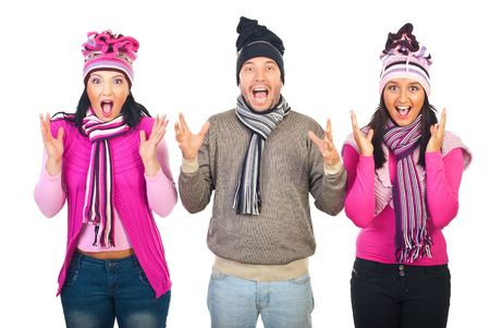 neckcloth: Group of three people staning in a row,wearing woolen clothes and shouting together isolated on white background