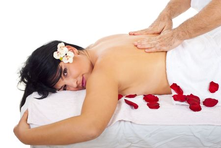 levantandose: Mujer atractiva volviendo masaje por un masajista profesional reales