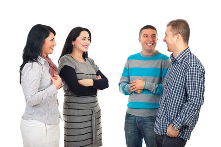 Four friends  having a funny conversation and laughing or men flirting with women  isolated on white background Stock Photo - 8203237