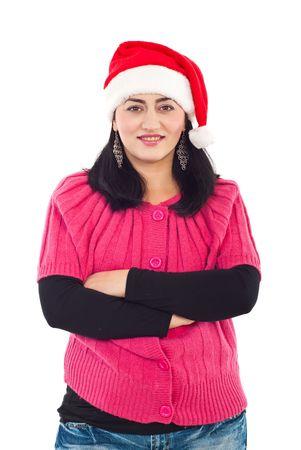 mains crois�es: Chapeau de Santa porter femme souriante et permanent avec les mains crois�es isol�s sur fond blanc Banque d'images