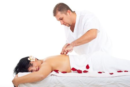 Woman receiving shiatshu massage from a real professional masseur photo