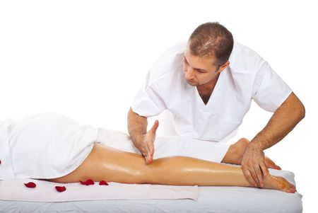 oiled: Real masseur give friction massage type to womans leg