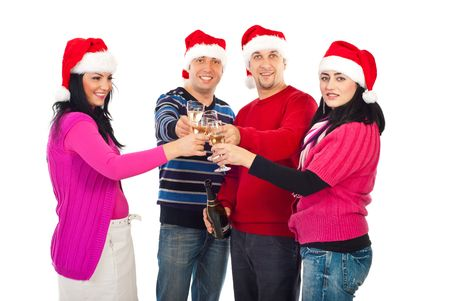 pullovers: Cheerful friends people wearing sata hats and toasting with champagne celebrating christmas isolated on white background