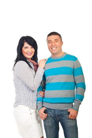 mid adult couple: Atractivo sonriente mediados par adultos aislados sobre fondo blanco