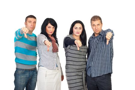 dislike: Sad group of people in a row giving thumbs down isolated on white background
