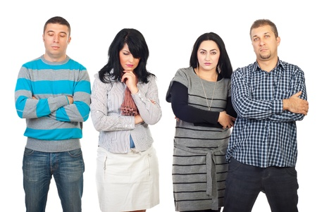 Sad group of people with problems standing in a row and thinking isolated on white background