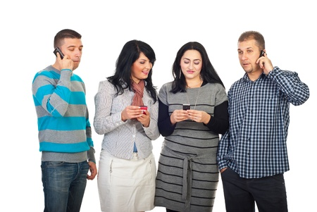 Happy people in a line calling by phone mobiles or sending text messages isolated on white background photo