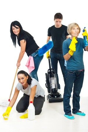 Four people teamwork working in a house and using cleaning products