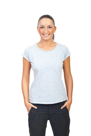Beauty woman in blank gray t-shirt isolated on white background photo