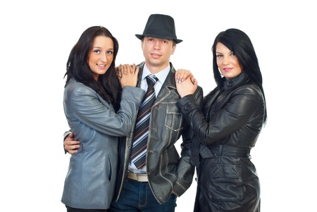 Three  beautiful models man and women wearing leather jackets isolated on white background photo