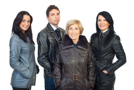 Group of beautiful models people in leather coats isolated on white background photo