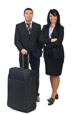 Full length of two business people with luggage preparing to going in a business travel isolated on white background photo