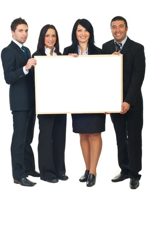 four poster: Full length of four business people in a row holding a blank banner isolated on white background