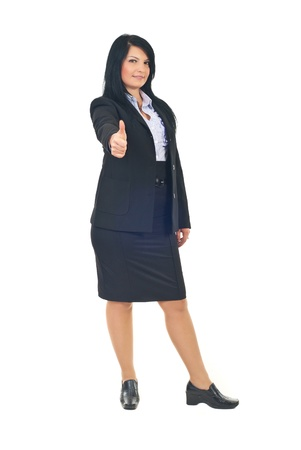 Full length of attractive  business woman in black suit giving thumbs up isolatedon white background Stock Photo - 8375473