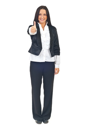 Young business woman giving thumb up isolated on white background Stock Photo - 8375476