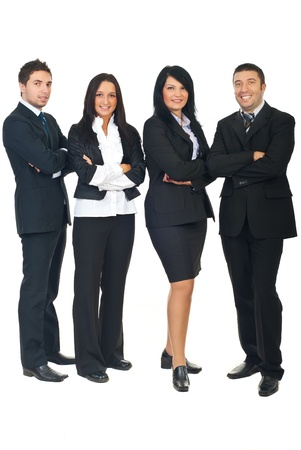 Full length of smiling  business people group standing in a row with hands folded isolated on white background photo
