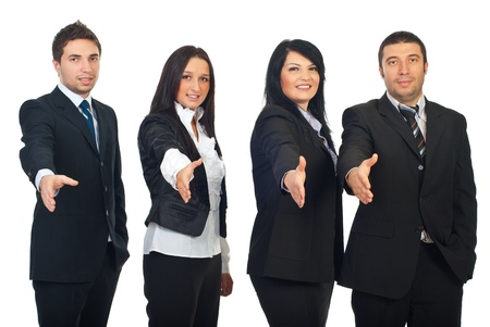 Row of four business people standing with hands open in welcome sign gesture isolated on white background photo