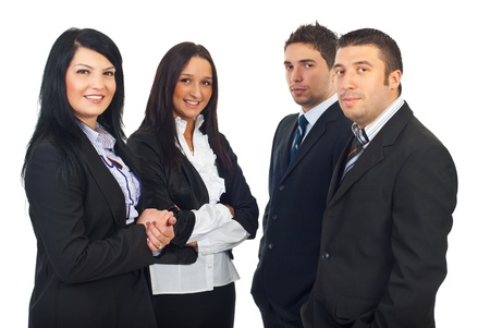Two teams of business people women and men standing together isolated on white background photo