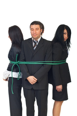 bound woman: Group of sad executives people tied up isolated on white background Stock Photo