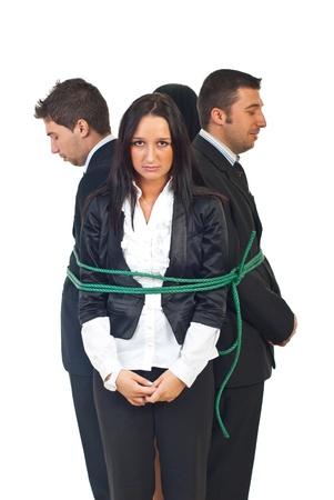ビジネスの人々 の白い背景で隔離のサークルで結ばれるチームワーク 写真素材
