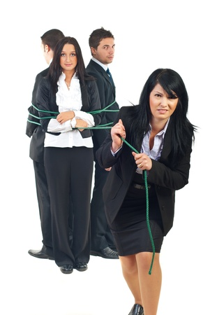 impassive: Single business woman are trying to pul her team after it but they are impassive isolated on white background