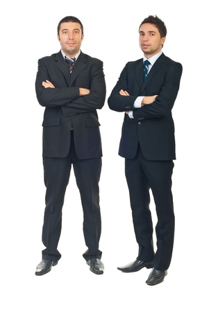 Full length of handsome two business men standing with arms folded isolated on white background Stock Photo - 8375538