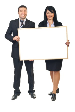 a placard: Two smiling business people holding blank banner isolated on white background