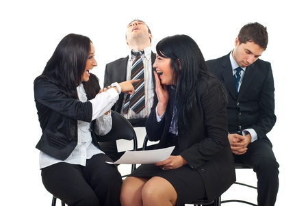 bore: Businesswomen have fun laughing out loud and pointing to men fall asleep at conference