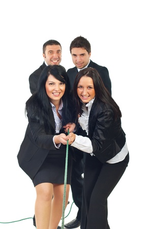 tug of war: Team of businesswomen and team of businessmen pulling rope together isolatedon white background