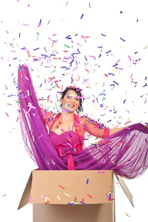 lilla: Elegant woman out of the box at  new year party midnight and many confetti falling down over her Stock Photo