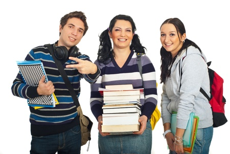 Cheerful team of students holding books and notebooks and man showing victory sign hand gesture isolated on white background photo