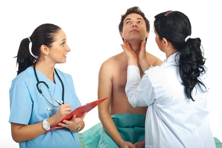 examine: Doctor woman examine thyroid male patient and being assisted by a nurse