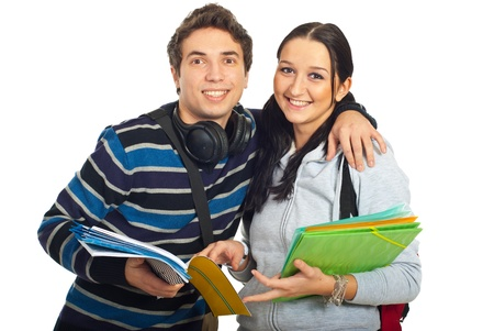 Happy couple of students standing in embrace and smiling together isolated on white background Stock Photo - 8586243