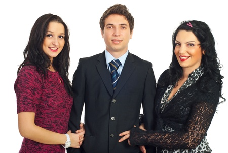 Handsome man in business suit with two elegant beautiful women isolated on white background photo