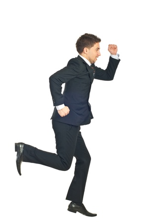 haste: Business man in a hurry running away isolated on white background