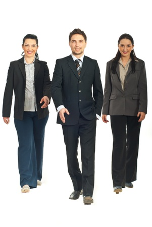 Business people team walking isolated on white background photo