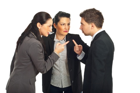 accuser: Two business people arguing and other businesswoman trying to settling the  conflict isolated on white background Stock Photo