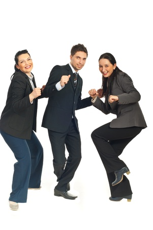 Three group of business people dancing and celebrate their success in business isolated on white background Stock Photo