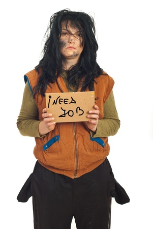 dungy: Beggar serious woman holding a carboard with the message:I need job isolated on  white background