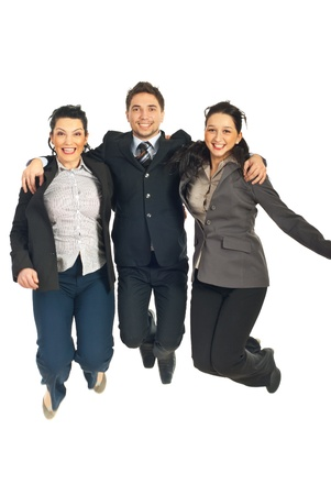 Group of three business people jumping  in embrace together isolated on white background photo