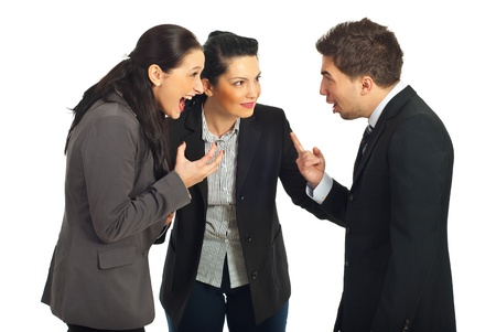 settling: Two nervous business people arguing and screaming each other and other business woman trying to settling the conflict