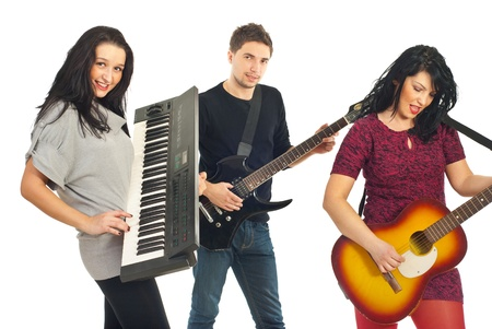 Band group of young people playing musical instruments isolated on white background photo