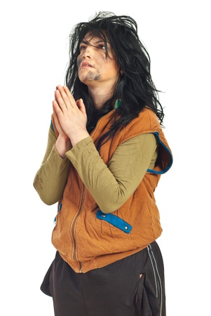 pathetic: Beggar woman  praying and looking up isolated on white background Stock Photo