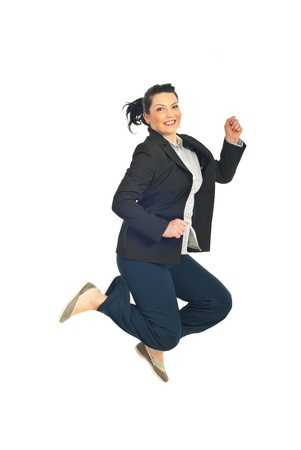 Jumping happy business woman isolated on whi Stock Photo - 8691823
