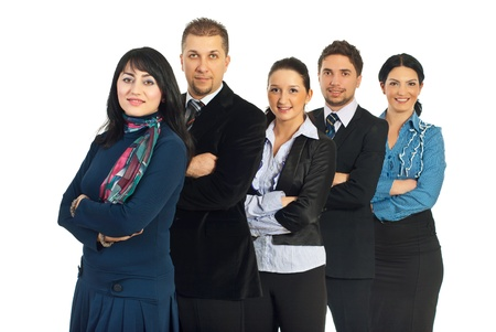 Cheerful business people team standing in a row with arms folded and smiling isolated on white background Stock Photo - 8686595