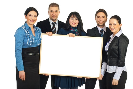 Happy teamwork of five business people holding a blank banner isolated on white background