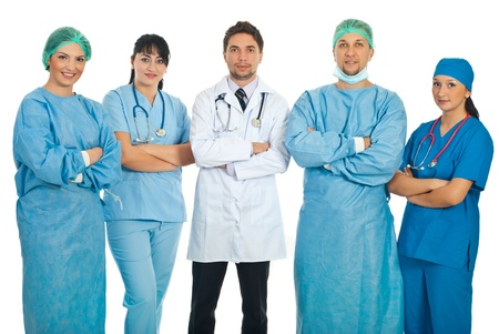 practitioners: Team of five doctors standing with hands crossed isolated on white background