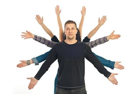 mid adult man: Casual mediados hombre adulto con sus amigos las manos detr�s de �l en concepto de amistad aislado en fondo blanco